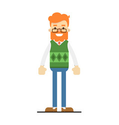happy redheaded bearded hipster character vector image vector image