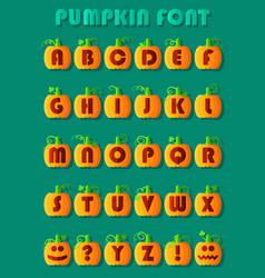 pumpkin font artistic alphabet vector image