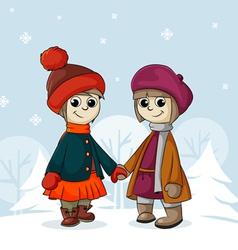 Two girlfriends in winter vector