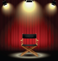 background curtain and directors chair with vector image vector image