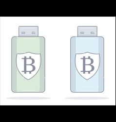 bitcoin wallet usb flash drive cartoon style vector image