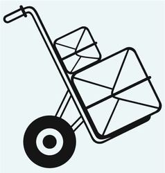 Box on sack truck vector image vector image