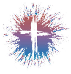 grunge style cross on colorful splash vector image vector image
