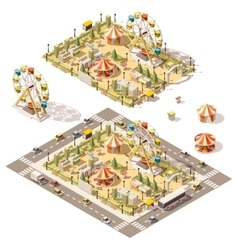 isometric low poly amusement park vector image