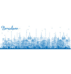 outline barcelona skyline with blue buildings vector image