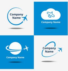 Plane logo set air travel logos or flight vector