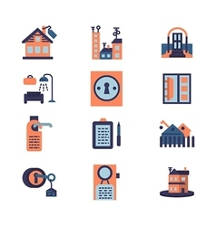 Rent of residential property flat icons vector image