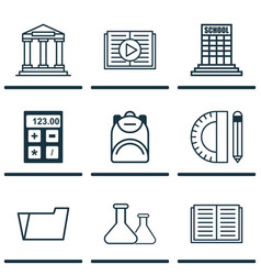 set of 9 school icons includes electronic tool vector image vector image