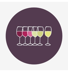 Wine glasses icon Red white and rose wine vector image vector image