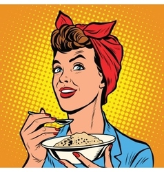 Woman with bowl of delicious cereal vector