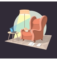 Writer Home Workplace Armchair Coffee Table vector image