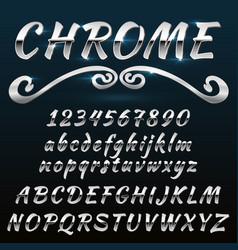 chrome shiny retro vintage font typeface mado vector image
