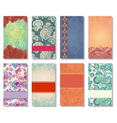 collection of colorful floral ornamental business vector image vector image