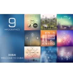 Dubai infographic with unfocused background vector