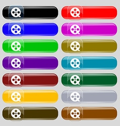 Film icon sign Set from fourteen multi-colored vector image vector image