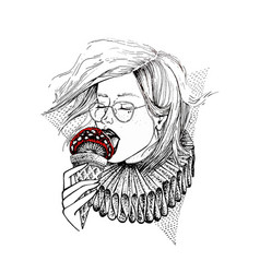 hand drawn girl in glasses eat mushroom in view of vector image vector image