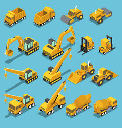 isometric construction transport icon set vector image