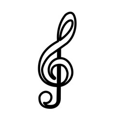 Monochrome contour with treble clef vector