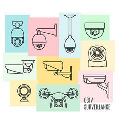 security camera line icon set flat design vector image