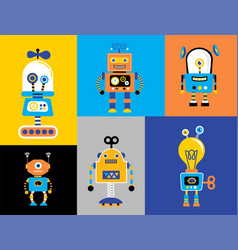 set of cute vintage robots vector image vector image