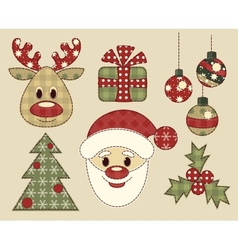 Set of vintage pictures for christmas vector image vector image