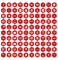 100 knowledge icons hexagon red vector