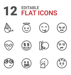 12 emoji icons vector