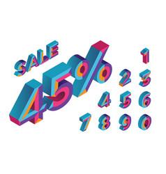 45 percent sale 0 1 2 3 4 5 6 7 8 9 3d vector image