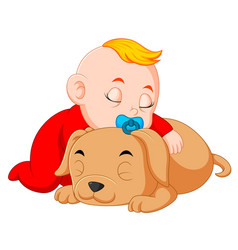 a baby hugging little dog vector image