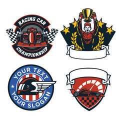 Badge design set of formula car race vector