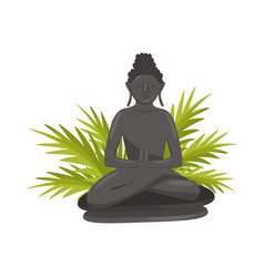 Bali buddha statue and green palm tree leaves vector