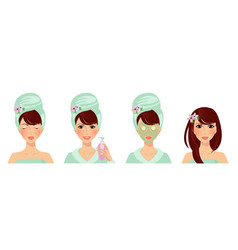 beauty face set of elegant women skincare set vector image