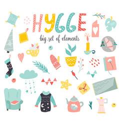 Big set of hygge elements in scandinavian style vector