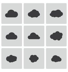 Black cloud icons set vector