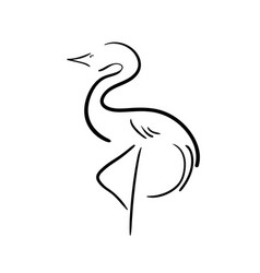 Black stylized stork on a white background vector