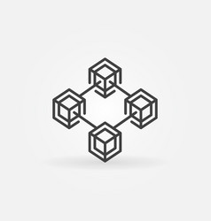 blockchain cryptocurrency line icon or logo vector image