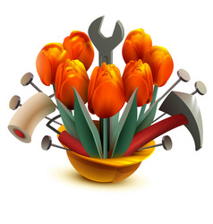 building helmet with flowers and work tools vector image