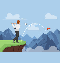 businessman hit golf and making a hole in one vector image