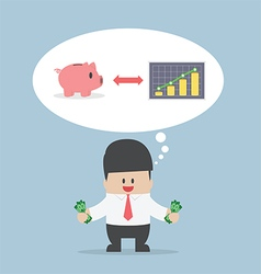 Businessman want to manage his money for saving vector