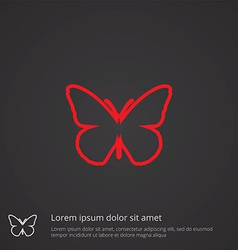 Butterfly outline symbol red on dark background vector
