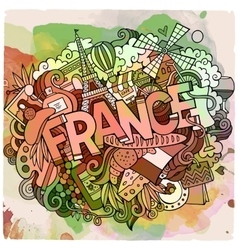 Cartoon hand drawn Doodle France vector