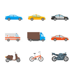 cartoon urban transport icons set on a white vector image