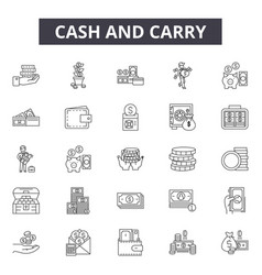 cash and carry line icons signs set vector image
