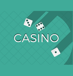 Casino dice flat cubes with a shadow on a green vector