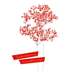 christmas card with branches snowy berries vector image