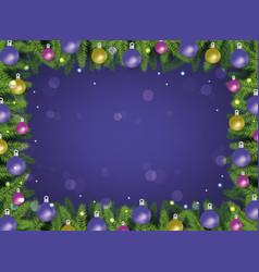 christmas frame on violet vector image
