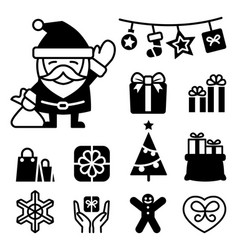 christmas santa claus icons vector image