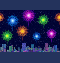City landscape with fireworks vector