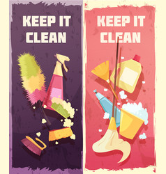Cleaning vertical banners vector