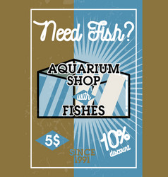 Color vintage aquarium shop banner vector